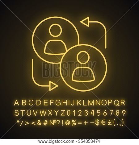 Partnership Neon Light Icon. Partners, Companions. Colleagues Interaction. Teamwork. Glowing Sign Wi
