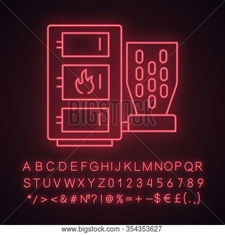 Pellet Boiler Neon Light Icon. Central Heating System. Solid Fuel Boiler. Pellet Burner System With