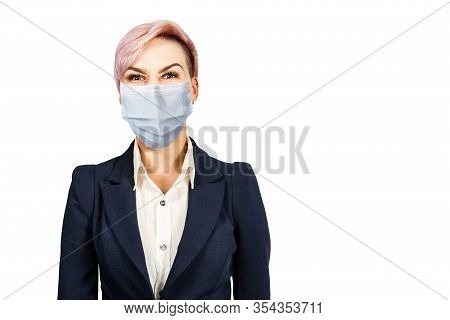 Business Official Girl Think Wearing Protective Face Mask Prevent Virus Infection, Pollution, White