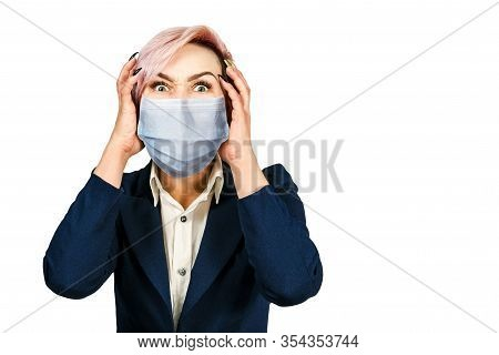 Portrait Young Girl Has Headache, Wearing Protective Face Mask Prevent Virus Infection, White Isolat
