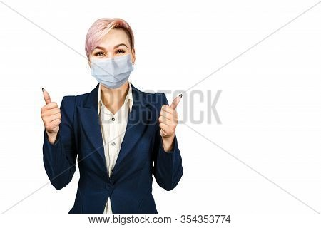 Young Woman Show Thumb Up, Wearing Protective Face Mask Prevent Virus Infection, White Isolated Back
