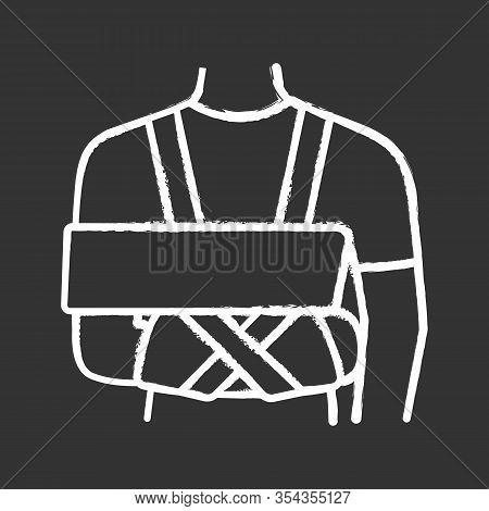 Shoulder Immobilizer Chalk Icon. Sling And Swathe. Broken Arm, Shoulder Injury Treatment. Arm Fix Br