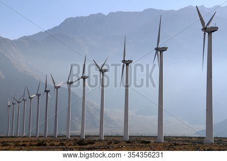 Foggy Afternoon Mountains Tall Row Wind Turbines Farm