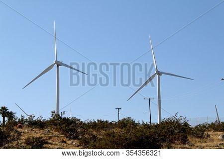 Mountain Vista Twin Wind Turbines Blue Sky