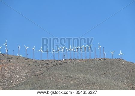 Old Retro Wind Farm Mountain Top Distance View