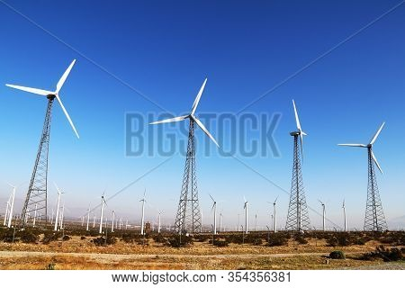 Vintage Desert Wind Farm Retro Turbines Blue Sky