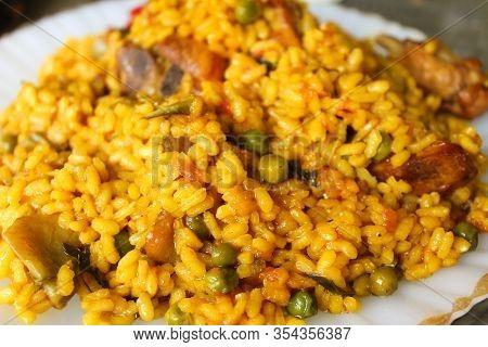 Paella Food Detail Yelow Spanish Dish Rice