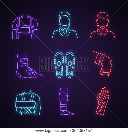 Trauma Treatment Neon Light Icons Set. Rib Belt, Cervical Collar, Ankle And Knee Braces, Insoles, Sh