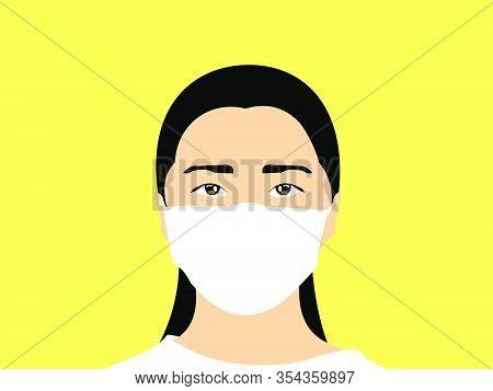 Woman Wearing Masker Illustration Vector
