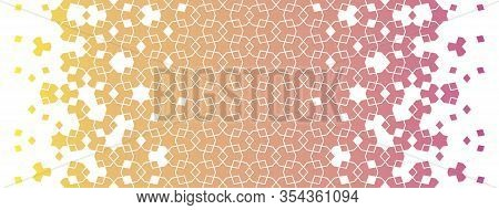 Gradient Arabian, Islamic Vector Border. Geometric Halftone Texture, Arabian Pattern With Color Tile
