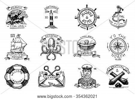 Marine And Nautical Emblems. Set Of Engraved Vintage, Hand Drawn Old Sea, Ocean Labels Or Badges. Li