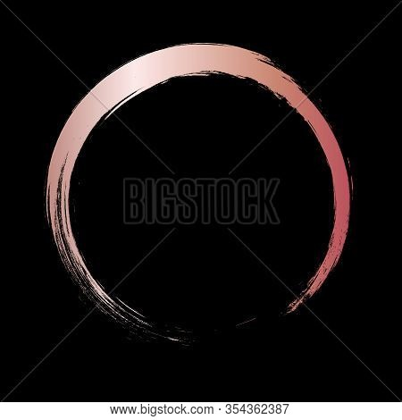 Rose Gold Circle Frame. Rose Gold Gradient Circle With Vector Golden Paint Brush Texture On Black Ba