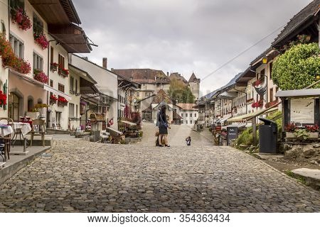 Beautiful View Of The Medieval Town Of Gruyeres, Home To The World-famous Le Gruyere Cheese, Canton