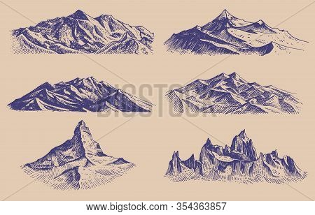 Mountains Peaks And Climbing Hill. Hand Drawn Vintage Old Sketch. Set Of Elements In Engraved Style.