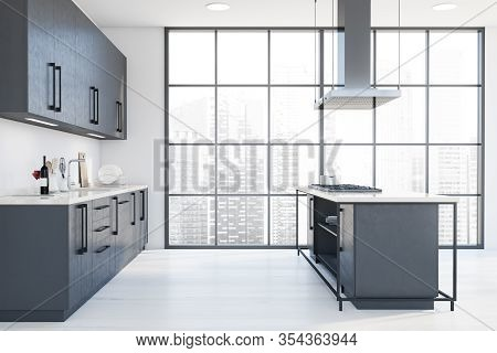 Panoramic White Kitchen With Island, Side View
