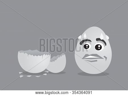 Fear Eggs Faces Staring With Dramatic Face Expression At An Empty Eggsshell. Vector Illustration.
