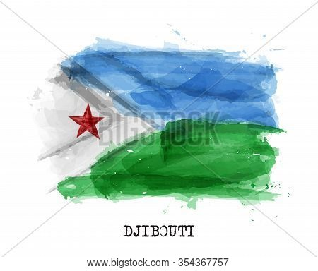 Realistic Watercolor Painting Flag Of Djibouti . Vector .