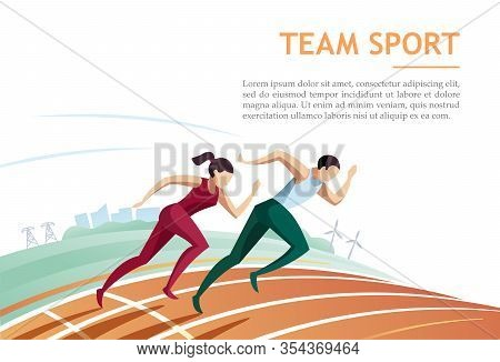 Team Sport. Man And Woman Athlete Runs Along The Track Against City Background. Sport Running And Co