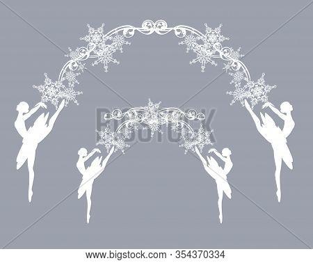 Elegant Ballerina Girl And Snowflakes Arch Decor - Ballet Dancer Decorative Vector Silhouette