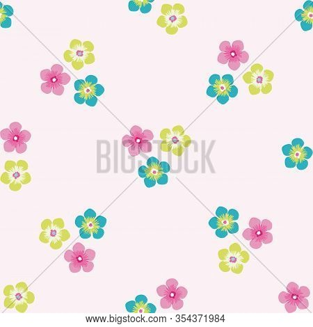 Trio Of Small Flowers Seamless Vector Pattern Background. Groups Of Multicolor Blooms Tropical Backd