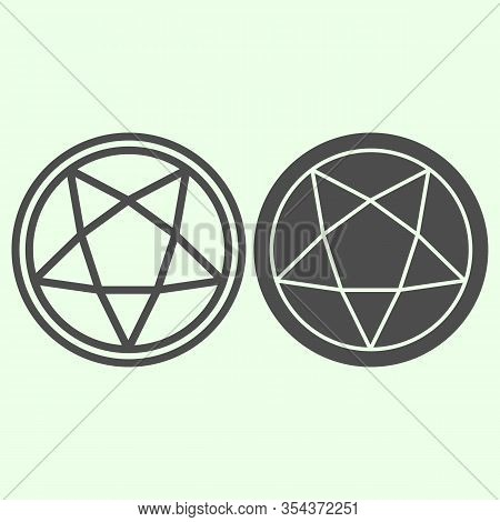Pentagram Line And Solid Icon. Mystical Gothic Five Pointed Star Circle Outline Style Pictogram On W