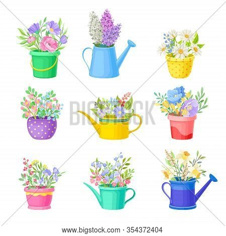 Bunch Of Flowers Standing In Bright Buckets And Watering Cans Vector Set