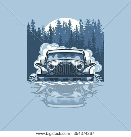 Vector Illustration With A Suv Passing Impassable Obstacles