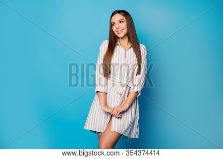 Portrait Of Attractive Lovely Pretty Girl Look Copyspace Enjoy Spring Weekend Free Time Dream Dreamy