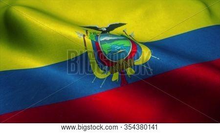 Ecuador Flag Waving In The Wind. National Flag Of Ecuador. Sign Of Ecuador. 3d Rendering.