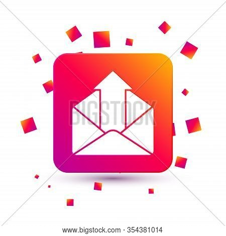 White Outgoing Mail Icon Isolated On White Background. Envelope Symbol. Outgoing Message Sign. Mail