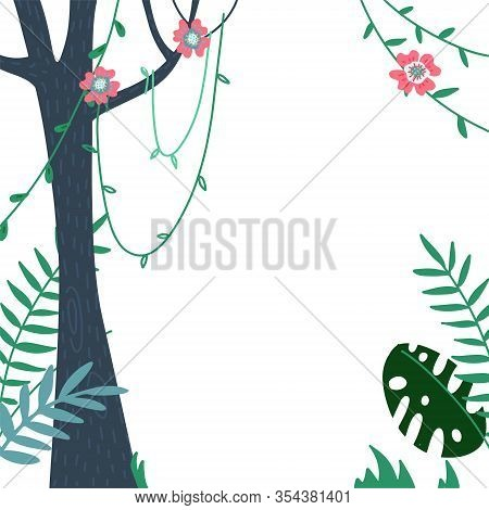 Jungles Leaves And Summer Tropical Frame Vector Illustration Poster. Welcome To Jungle, Palm Leaves