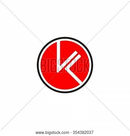 Abstract Letter Kl Negative Space Circle Geometric Line Logo Vector