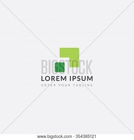 Logo Arrow Green Leaf, Simple Monogram Design.