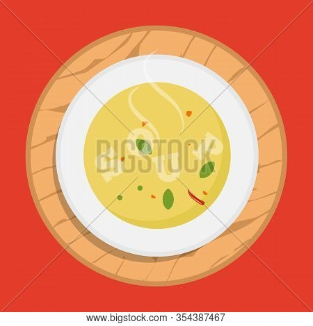Hot Bowl Of Soup, Dish Isolated Icon. Soup With Vegetables Isolated On White Background. Vector Illu