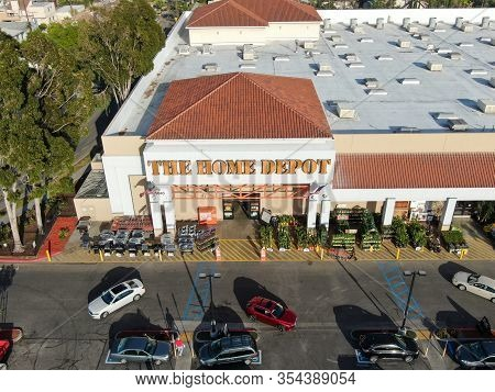 Aerial View Of The Home Depot Store And Parking Lot In Los Angeles, California, Usa. Home Depot Is T