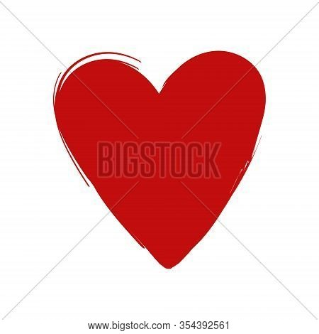Narrow Red Painted Heart Vector, Isolated On A White Background