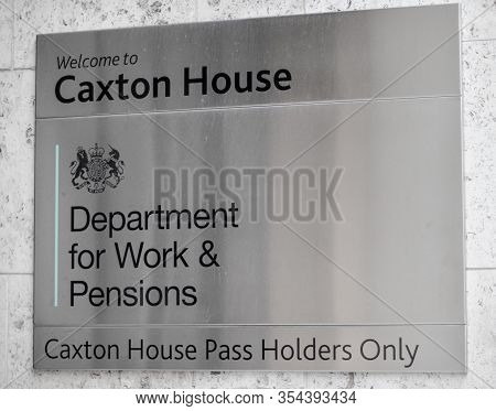 London / Uk - February 22nd 2020  - Department For Work And Pensions (dwp) Sign