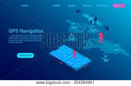 Gps Navigation App On Smartphone Concept. Satellite Radio Navigation And Tracking System On Mobile D