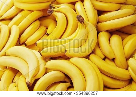 Banana Picture, Yellow Bananas, Banana On White Background. Banana Fruit Close Up, Tropical Yellow P