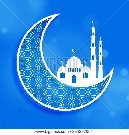 Eid Festival Moon And Mosque Design Background