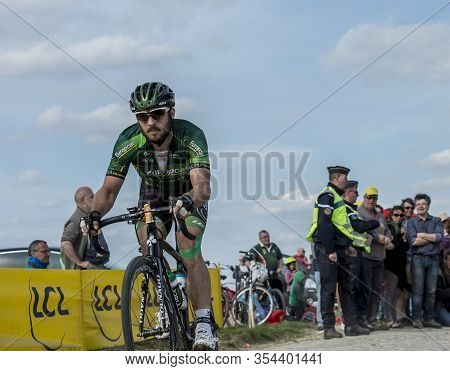 Gruson, France - April 12,2015: The French Cyclist, Morgan Lamoisso Of Team Europcar, Riding During
