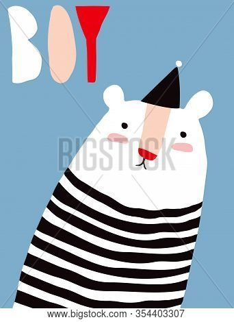 Sweet Infantile Style Nursery Art With Funny Polar Bear Wearing Black-white Striped Jumper.cute Baby