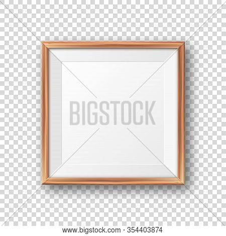 Realistic Blank Wooden Picture Frame. Modern Poster Mockup. Empty Photo Frame With Texture Of Wood.