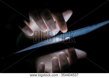 Hacker Stealing Data From Digital Tablet , Closeup