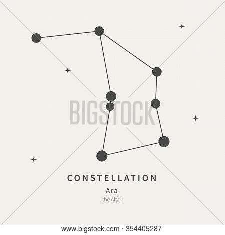 The Constellation Of Ara. The Altar - Linear Icon. Vector Illustration Of The Concept Of Astronomy.