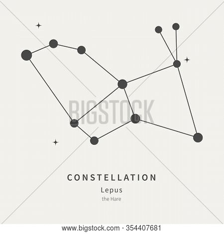 The Constellation Of Lepus. The Hare - Linear Icon. Vector Illustration Of The Concept Of Astronomy.