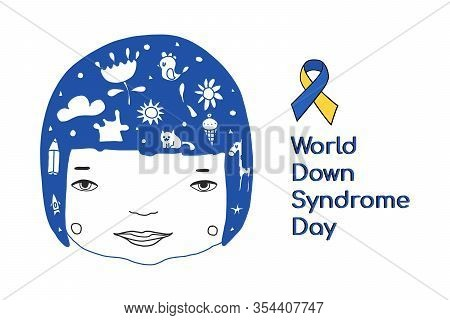 Concept Of Down Syndrome. Smiling Face Of A Disabled Girl Isolated On A White Background In The Styl