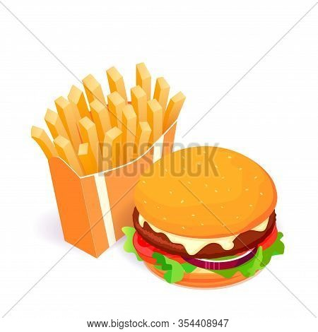 French Fries And Burger Isometric Vector Illustration. Fast Food Concept