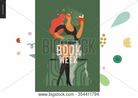 World Book Day Graphics, Vulgar Dressed Woman Poster, Book Week Events. Modern Flat Vector Concept I