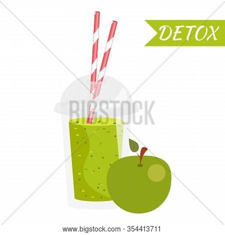 Smoothie With Apple Flavour, Take Away. Healthy Fresh Juice Fresh. Cartoon Smoothie In A Transparent